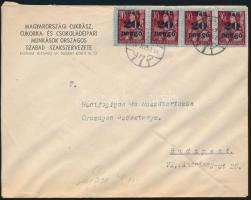 1945 5. díjszabás Helyi levél 4x Kisegítő 20P/30f bérmentesítéssel