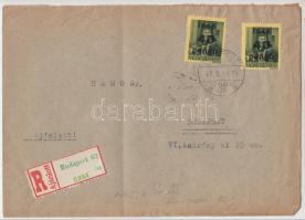 1946 5. díjszabás Helyi levél 2x Kisegítő 40P/8f bérmentesítéssel, utólag felragasztott ajánlott ragjegy