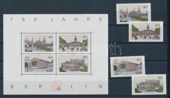 1987 750 éves Berlin blokk Mi 8 + a blokkból kitépett bélyegek Mi 772-775