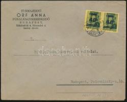 1945 5. díjszabás Helyi levél Kisegítő 2x 40P/8f bérmentesítéssel