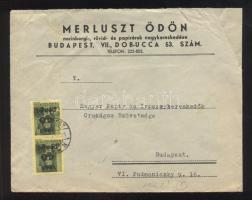 1946 5. díjszabás Helyi levél Kisegítő 2x 40P/8f bérmentesítéssel (a boríték hátuljából egy darab kivágva)