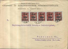 1945 5. díjszabás Helyi levél 250gr-ig Kisegítő 5x 20P/30f bérmentesítéssel