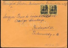 1945 5. díjszabás Helyi levél 500gr-ig Kisegítő 2x 60P/18f bérmentesítéssel