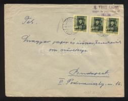 1945 5. díjszabás Távolsági levél Kisegítő 3x 40P/8f bérmentesítéssel