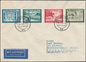 1940 Mi 702-713 3 db légi levélen Moszkvába