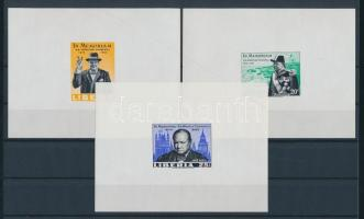 1974 Winston Churchill Mi 644-646 deluxe vágott blokksor /deluxe imperforate blocks