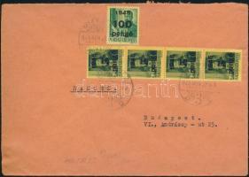 1945 (5. díjszabás) Távolsági levél 4x Kisegítő 5P/8f+ 100P/20P bérmentesítéssel