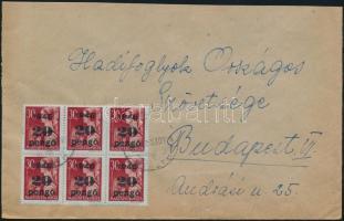 1945 (5. díjszabás) Távolsági levél 6x Kisegítő 20P/30f bérmentesítéssel
