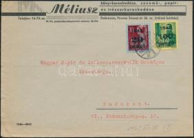 1945 (5. díjszabás) Távolsági levél Kisegítő 100P/12f + 20P/30f bérmentesítéssel