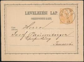 1873 2kr díjjegyes levelezőlap / PS-card DENTA - Temesvár