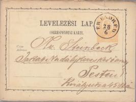 1873 2kr díjjegyes levelezőlap / PS-card ÉR ENDRÉD - PEST