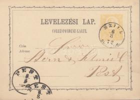 1872 2kr díjjegyes levelezőlap / PS-card SZILL/SOMOGY M. - PEST