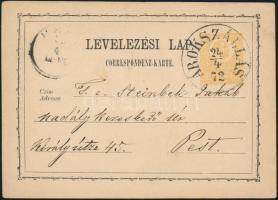 1872 2kr díjjegyes levelezőlap / PS-card ÁROKSZÁLLÁS - (PEST)
