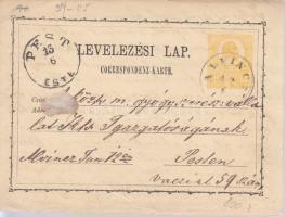 1872 2kr díjjegyes levelezőlap ALVINC(Z) - PEST/ESTE
