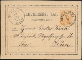 1873 2kr díjjegyes levelezőlap / PS-card BESZTERCZE/ERDÉLYBEN - NEUBAU/WIEN