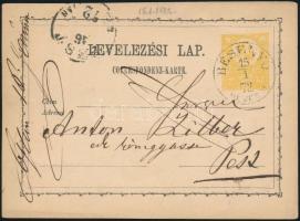 1872 2kr díjjegyes levelezőlap / PS-card BESENYŐ/HEVES M. - PEST...