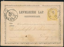 1872 2kr díjjegyes levelezőlap / PS-card BERETHALOM - LINZ