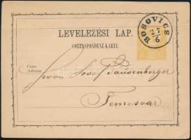 1871 2kr díjjegyes levelezőlap / PS-card BOSOVICS - Temesvár