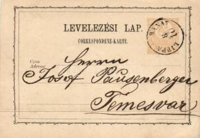 1872 2kr díjjegyes levelezőlap LIPPA BANAT - Temesvár