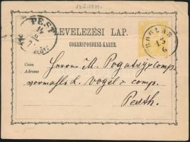 1871 2kr díjjegyes levelezőlap / PS-card BOGLÁR - PEST/DÉL ELŐTT