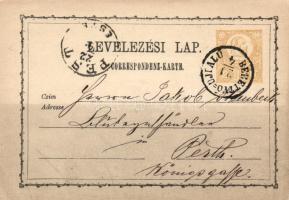 1871 2kr díjjegyes levelezőlap BERETTYÓ=UJFALU - PEST/ESTE