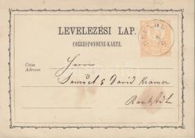 1873 2kr díjjegyes levelezőlap / PS-card BRÜNDL