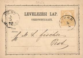 1872 2kr díjjegyes levelezőlap (BR)OOD - PEST/DÉL (ELŐTT)