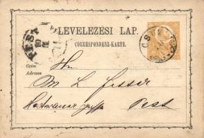1871 2kr díjjegyes levelezőlap CSUZ - PEST