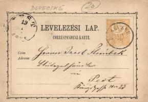 1871 2kr díjjegyes levelezőlap DERECSKE - PEST/ESTE