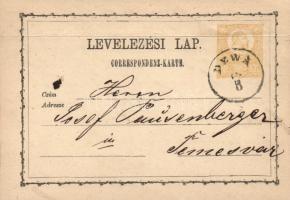 1871 2kr díjjegyes levelezőlap DEWA - Temesvár