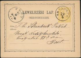 """Hungary-Romania 2kr PS-card """"ÉR ENDRÉD"""" - """"PEST"""", 2kr díjjegyes levelezőlap """"ÉR ENDRÉD"""" - """"PEST"""""""