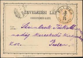"""2kr PS-card """"FÖLDES/SZABOLCS M."""" - """"BUDAPEST"""", 2kr díjjegyes levelezőlap """"FÖLDES/SZABOLCS M."""" - """"BUDAPEST"""""""