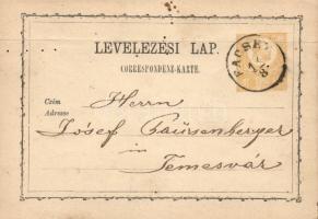 1871 2kr díjjegyes levelezőlap FACSET - Temesvár