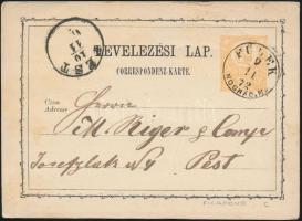 1872 2kr díjjegyes levelezőlap / PS-card FÜLEK/NÓGRÁD.M. - PEST