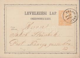 1872 2kr díjjegyes levelezőlap / PS-card FELSŐ-FALU - Pest