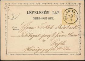 1872 2kr díjjegyes levelezőlap / PS-card FELSŐ-FALU - (P)EST