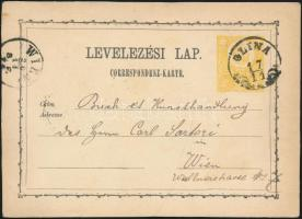 1871 2kr díjjegyes levelezőlap / PS-card GLINA - WIEN