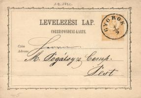 1871 2kr díjjegyes levelezőlap GYOROK - Pest