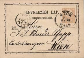 1873 2kr díjjegyes levelezőlap GYŐR/RAAB - WIEN