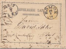 1872 2kr díjjegyes levelezőlap / PS-card HOMOK - BUDAPEST/DÉL ELŐTT