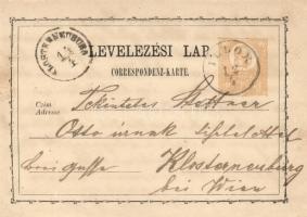1872 2kr díjjegyes levelezőlap ILLOK - KLOSTERNEUBURG