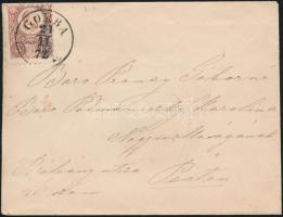 1872 Réznyomat 5kr levélen / Mi 10 GOMBA (PEST M) - MONOR PEST M - PEST