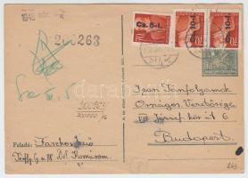 1946 (8. díjszabás) Távolsági levelezőlap Betűs I 3x Cs.10-I./70f túlbérmentesítve