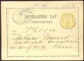 1871 2kr díjjegyes levelezőlap KRIZEVAC - WIEN