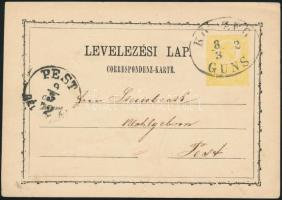 1872 2kr díjjegyes levelezőlap / PS-card KŐSZEG/GÜNS - PEST/DÉL...