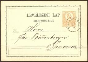 1873 2kr díjjegyes levelezőlap KARÁNSEBES - Temesvár
