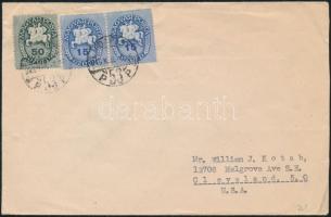 1946 (8. díjszabás) Levél az USA-ba Lovasfutár bélyeggel bérmentesítve