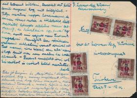 1946 (8. díjszabás) Távolsági levelezőlap 5x Betűs Tl.2./10f bérmentesítéssel
