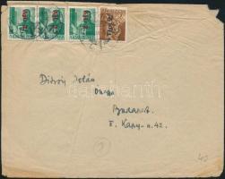 1946 (8. díjszabás) Távolsági levél 4 db Betűs II bélyeggel bérmentesítve (gyűrött)