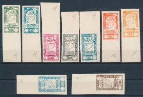 1943 Mi 465-473 fogazatlan ívszéli próbanyomatok értékjelzés nélkül / imperfoarte proofs without value